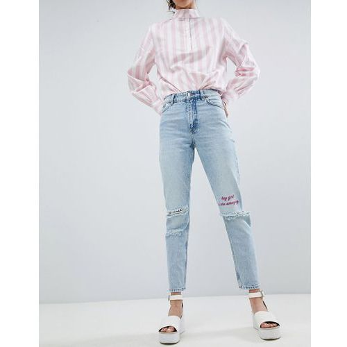 Monki Kimomo Ripped Knee With Words Jeans - Blue