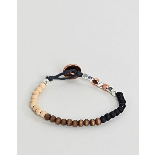 Classics 77 Mixed Beaded Bracelet With Burnished Copper Button Closure - Black, kolor czarny
