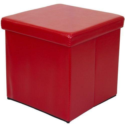 Bordowa składana pufa cube siedzisko kufer fotel - bordowy marki Stilista ®