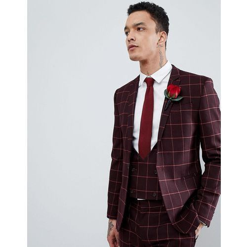 ASOS DESIGN Wedding Super Skinny Suit Jacket In Wine And Orange Grid Check - Red, kolor czerwony