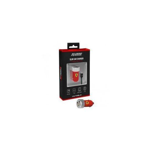 scuderia ładowarka samochodowa 2.1a 2xusb + kabel micro usb (czerwony) marki Ferrari