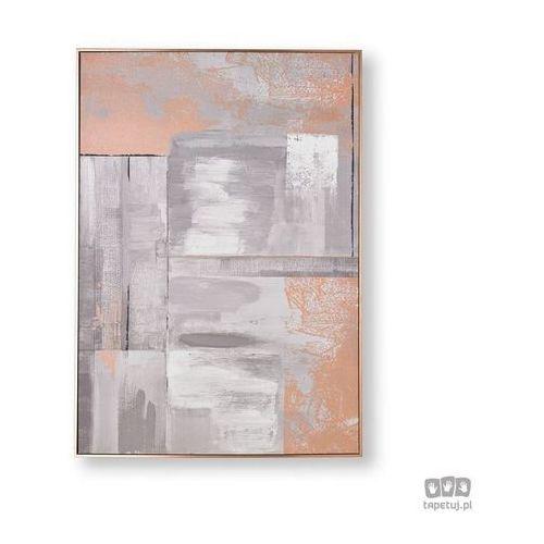 Obraz ręcznie malowany - abstrakcja w odcieniach różowego złota i szarości 104019 marki Graham&brown