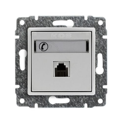 Kos vena gniazdo telefoniczne pojedyncze, z etykietą, bez ramki rj11 biały 510463 (5907617109315)