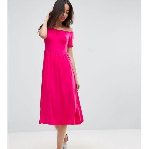 ASOS TALL Ruched Sweetheart Midi Skater Dress - Pink, kolor różowy