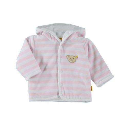 girls baby nicki bluza z kapturem w paski kolor różowy marki Steiff