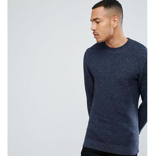Selected homme tall knitted high neck jumper with texture detail in 100% cotton - navy