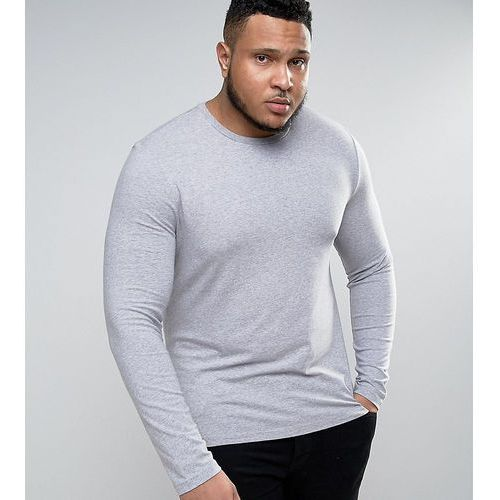 ASOS PLUS Muscle Long Sleeve T-Shirt With Crew Neck In Grey Marl - Grey