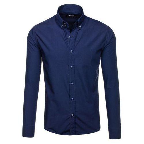 Bolf Granatowa koszula męska elegancka z długim rękawem Bolf 5821-1 - GRANATOWY, niebieska