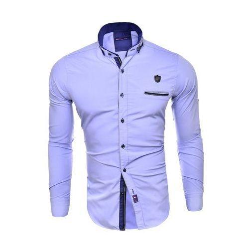 Koszula męska długi rękaw rl08 - błękitny, kolor niebieski
