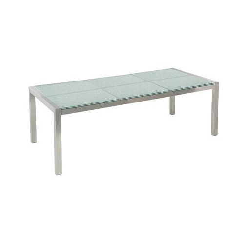 Zestaw ogrodowy szklany blat 180 cm 6-osobowy beżowe krzesła GROSSETO (4251682205382)