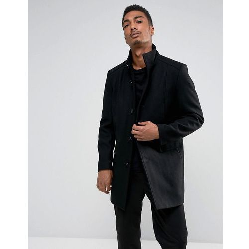 Selected Homme Funnel Neck Wool Mix Overcoat - Black, w 4 rozmiarach