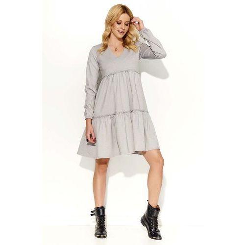 Szara Sukienka Oversize z Falbankami