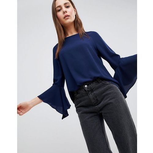 Brave Soul Madrid Top with Fluted Sleeves - Navy, kolor szary