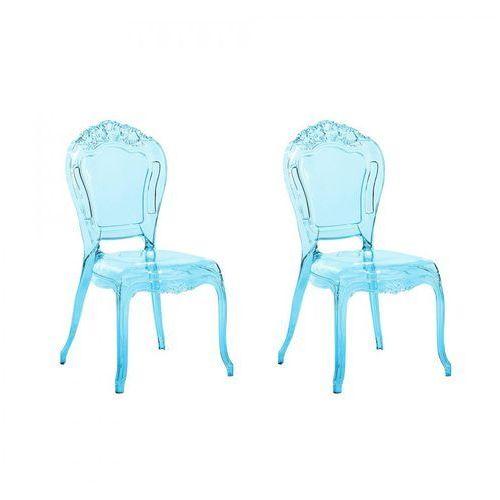 Zestaw do jadalni 2 krzesła przezroczysto-niebieskie Florentino BLmeble, kolor niebieski