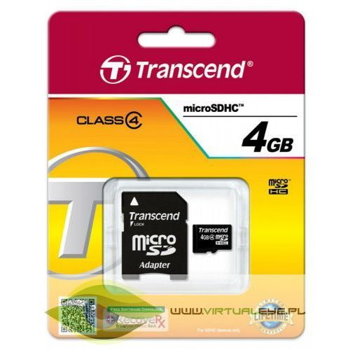 Microsd 4gb class4 + adapter marki Transcend