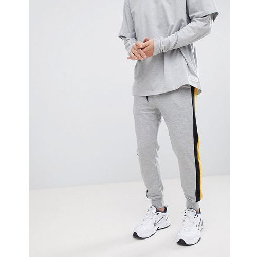 jersey joggers in grey with side stripe - grey, Bershka, S-L
