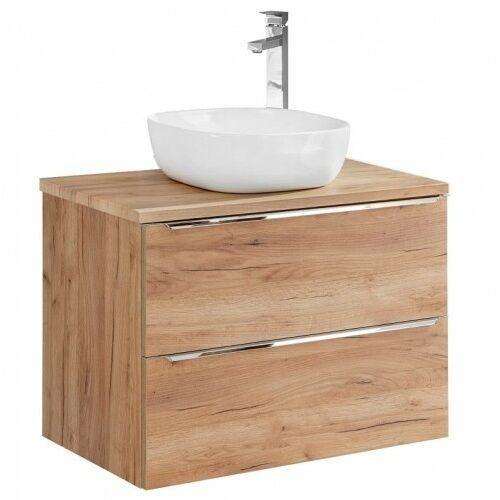 COMAD szafka Capri Oak 80 2S dąb craft złoty pod umywalkę nablatową + blat 80 dąb CAPRI OAK 821 + 891, kolor dąb