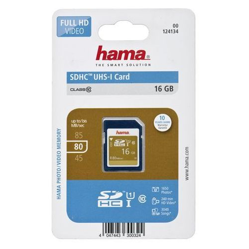 Karta pamięci sdhc 16gb uhs-i 80mb/s class 10 marki Hama