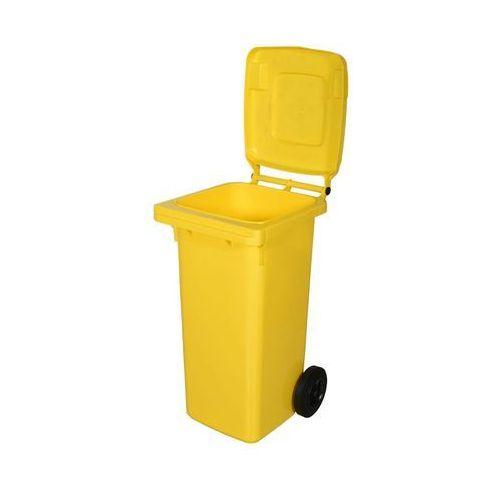 Kosz na śmieci 120 l żółty na odpady plastikowe i metalowe, 02855