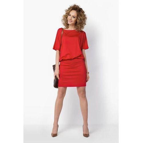 Uniwersalna Czerwona Sukienka z Kimonowym Rękawem, D017re