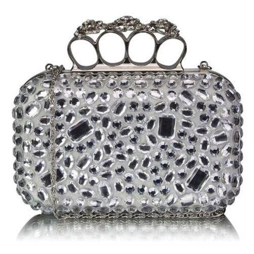 Biała torebka wizytowa szkatułka z kryształkami - biały marki Wielka brytania