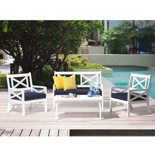 Zestaw ogrodowy drewniany biały 4-osobowy poduszki niebieskie BALTIC