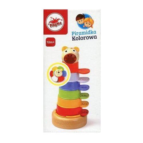Piramidka kolorowa drewniano-plastikowa marki Playme
