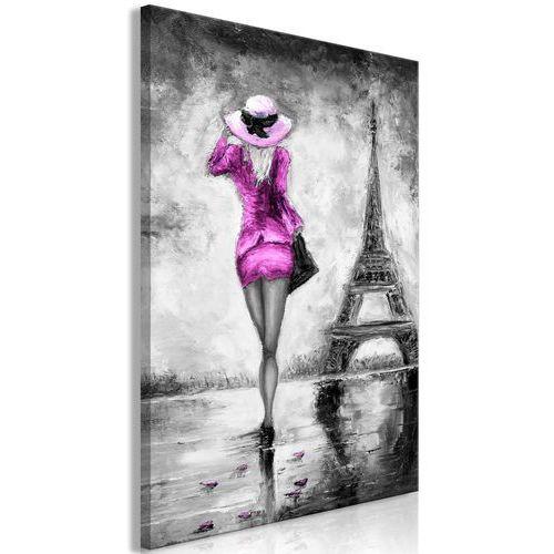 Obraz - paryska kobieta (1-częściowy) pionowy różowy marki Artgeist