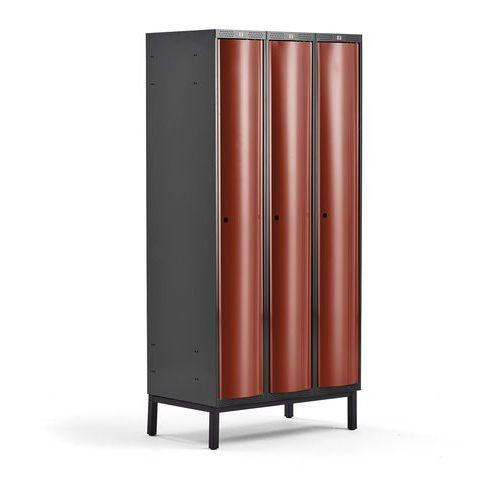 Metalowa szafa ubraniowa curve, na nóżkach, 3x1 drzwi, 1940x900x550 mm, czerwony marki Aj produkty