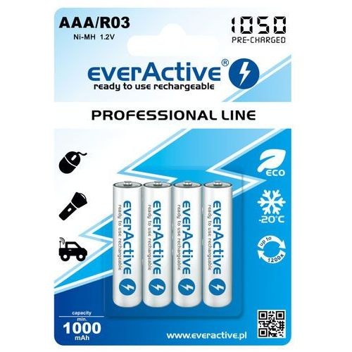 Everactive 4x akumulatorki r03/aaa ni-mh 1000 mah ready to use (5902020523376)