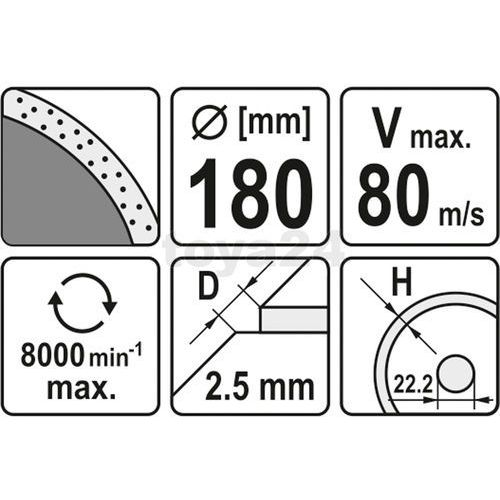 Tarcza diamentowa, segment ciągły, 180 mm Yato YT-6014 - ZYSKAJ RABAT 30 ZŁ