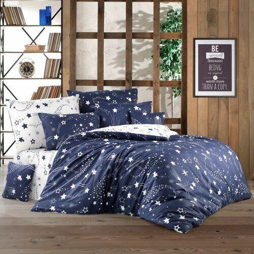 BedTex pościel Galaxy 140x200/2x70x90 cm, niebieski, kolor niebieski