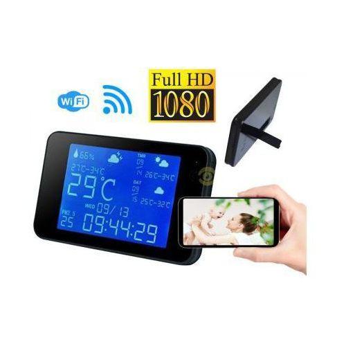 Szpiegowska Mikro-Kamera FULL HD WiFi/P2P (zasięg cały świat!) Ukryta w Stacji Pogody + Zapis +...