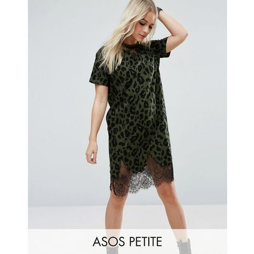 ASOS PETITE T-Shirt Dress with Lace Inserts in Leopard Print - Green
