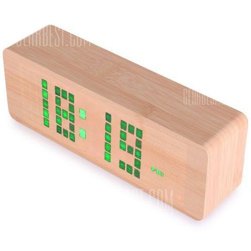 Novelty green light led wooden electronic alarm clock with sound control calendar thermometer function wyprodukowany przez Gearbest