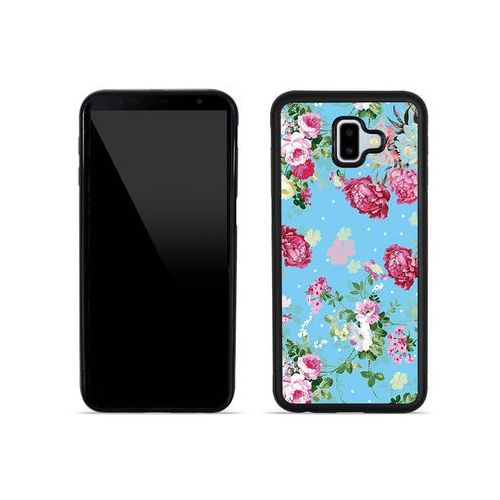 Samsung Galaxy J6 Plus - etui na telefon Aluminum Fantastic - różyczki na miętowym tle, kolor różowy