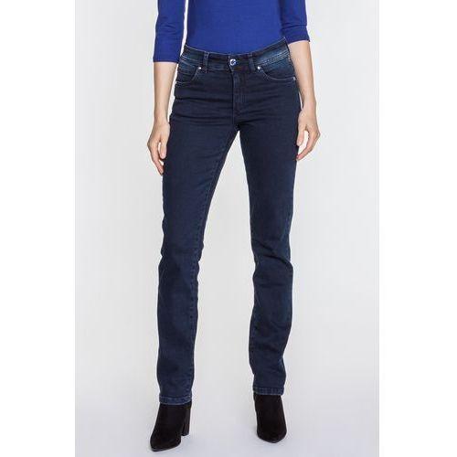 Granatowe jeansy z ozdobnym guzikiem Daisy - RJ Rocks Jeans, jeans