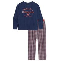 Piżama ze spodniami z tkaniny bonprix niebiesko-biało-pomarańczowy wzorzysty