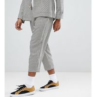 inspired relaxed cropped trouser in mini dogstooth check - brown, Reclaimed vintage, M-L