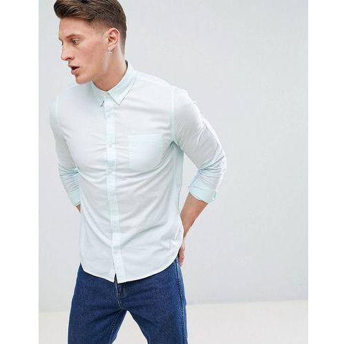 Burton menswear regular fit long sleeve oxford shirt in light green - green