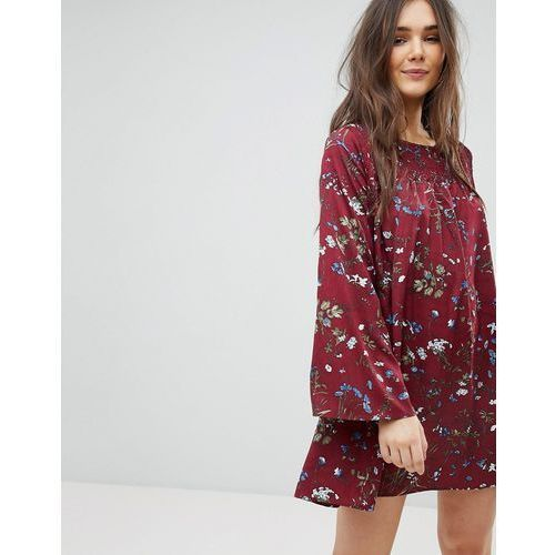 QED London Floral Shift Dress With Flared Sleeve - Red, 1 rozmiar