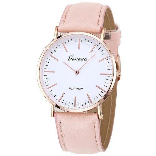 Zegarek biała tarcza różowy - pink rose gold marki Geneva