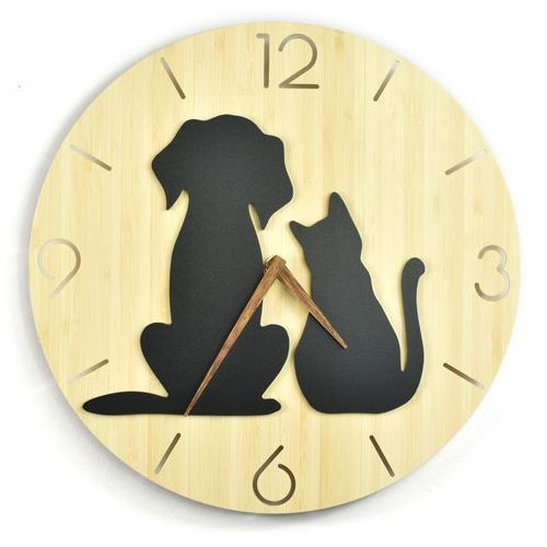 Zegar ścienny - wild i - dog&cat marki Woodwaycrafts