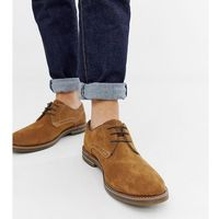 Base london wide fit blake derby shoes in tan suede - tan