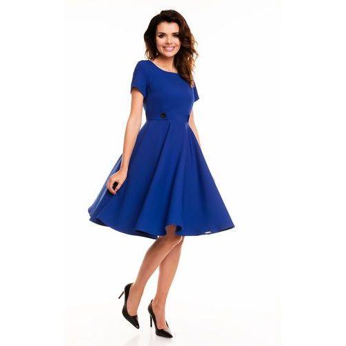 Niebieska Rozkloszowana Sukienka z Podkreśloną Talią, rozkloszowana