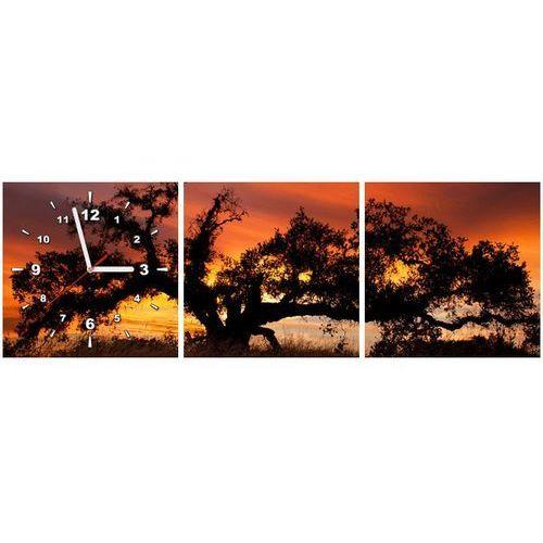 Zegar w obrazie - dąb w zachodzącym słońcu - don mccullough marki B2b