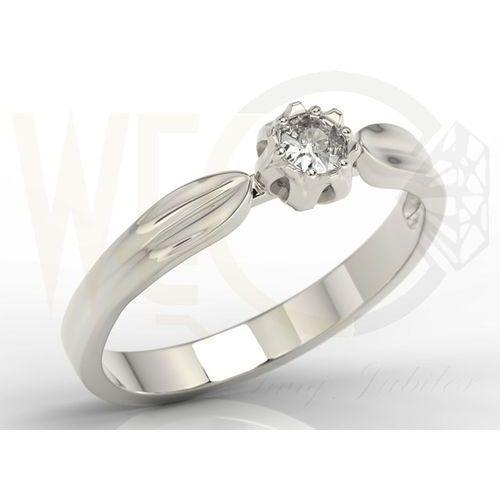 Węc - twój jubiler Pierścionek zaręczynowy w kształcie konwalii ap-4012b z białego złota z brylantem. - 0.12 ct