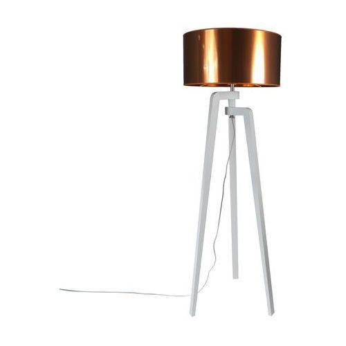 Lampa podlogowa Puros biala z miedzianym kloszem 50cm
