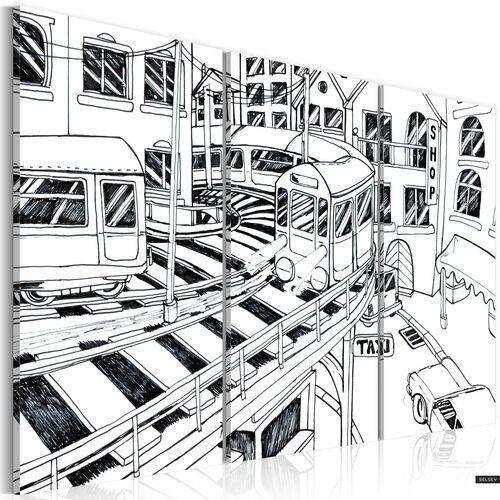 SELSEY Obraz - Futurystyczna stacja kolejowa - black and white 120x80 cm