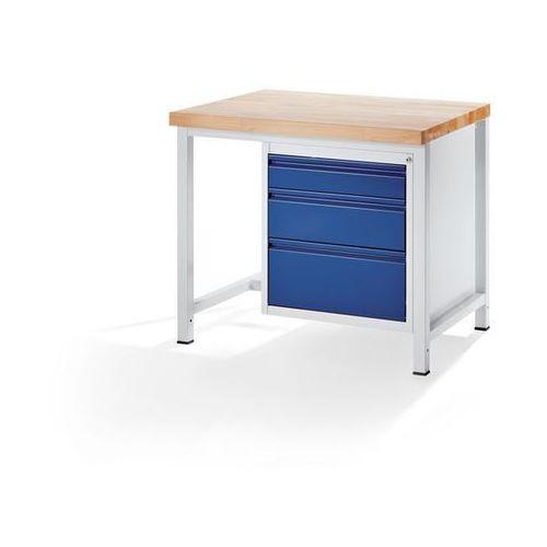 Rau Stół warsztatowy, stabilny,3 szuflady rozmiaru l, wys. po 1 x 120/180/240 mm